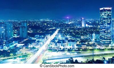 Tel Aviv At Night - Tel Aviv Skyline At Night - Time Lapse