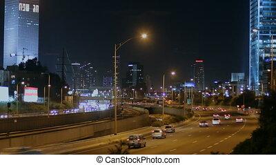 Tel Aviv at night - Time lapse of road traffic in Tel Aviv...