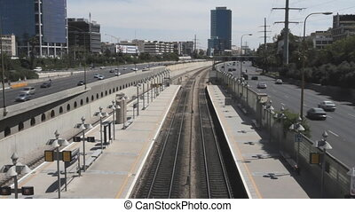 Tel aviv ayalon. Cars on lanes of highway