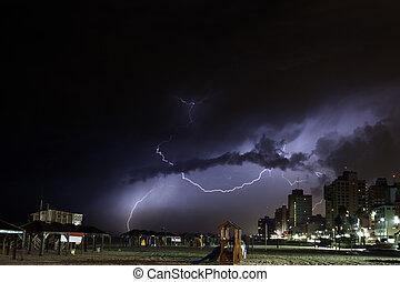 Tel-Aviv Beach Thunder Storm - Ominous storm clouds cover ...