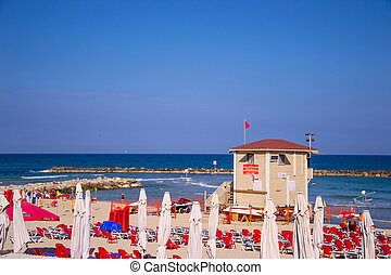 Tel Aviv beatch - View of Tel Aviv beach in sunlight day