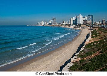 Tel-Aviv coastline view - Costline view of Tel-Aviv, viewed ...
