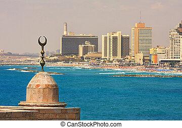 Tel Aviv coastline view. - View on coastline with new modern...
