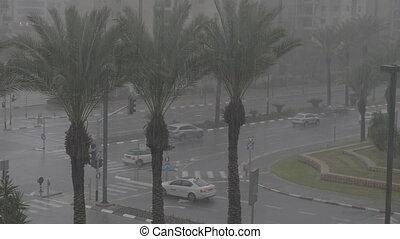 Tel-Aviv in the rain shot clip