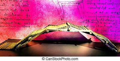 Tel Aviv, Israel - March 6, 2019: Model of a self-supporting bridge by Leonardo da Vinci design at The exhibition of Leonardo da Vinci - 500 years old. The first start-up man.