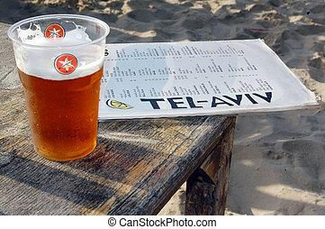 Tel Aviv - Israel - TEL AVIV - MAY 26:Cup of local beer and...