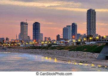 Tel Aviv Skyline - From the Mediterranean Sea towards Tel ...