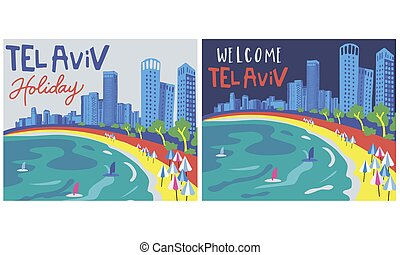 Tel Aviv skyline with buildings, blue sky. Vector illustration Business travel and tourism concept with modern architecture. Image for presentation. Banner Poster and website.