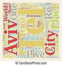 Tel Aviv text background wordcloud concept