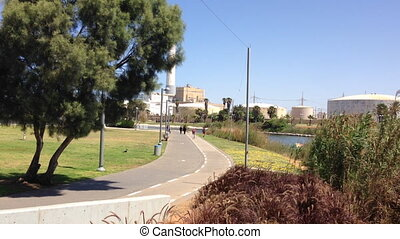 Tel Aviv Yarkon stream banks and sidewalk - Shot of Tel Aviv...