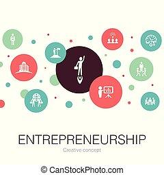 tel, bâtiment, association, entrepreneurship, branché, investisseur, cercle, contient, icons., gabarit, éléments, simple, direction