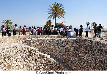 Tel Megiddo - Israel - MEGIDDO, ISR - AUG 16:Visitors in Tel...