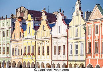 tel?, viejo, casas, lugar famoso, pueblo, república, checo