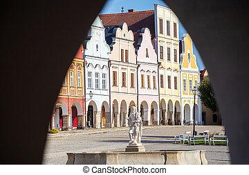 tel?, viejo, lugar famoso, pueblo, república, checo