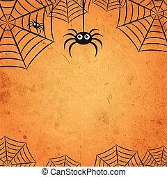 tela, 00141, naranja, araña, halloween, cuadrado, plano de ...