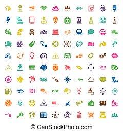 tela, 100, ecología, conjunto, iconos