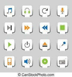 tela, 16, música, iconos