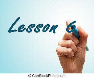 tela, 6, caneta escrito, mãos, lição