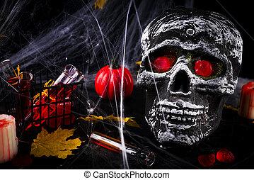 tela, abrasador, velas, Halloween, Araña, fiesta, tabla,...