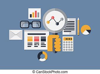 tela, analytics, ilustración
