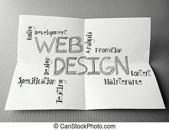 tela, arrugado, co, mano, diagrama, papel, diseño, plano de...