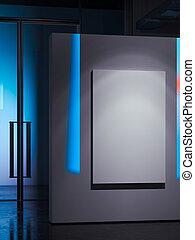 tela, arte, gallery., manifesto, moderno, rendering., luminoso, vuoto, bianco, 3d