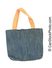 tela azul, bolsa, aislado, blanco