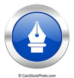 tela, azul, cromo, aislado, pluma, icono, círculo