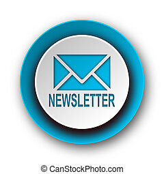 tela, azul, moderno, plano de fondo, icono, newsletter, blanco