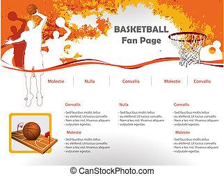 tela, baloncesto, diseño, sitio, plantilla