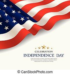 tela, bandera, diseño, américa, día, independencia, celebración