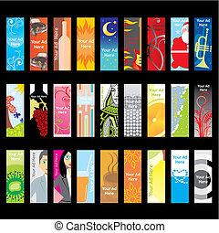 tela, banderas, diferente, disposiciones, vector