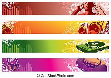 tela, banderas, vector, música