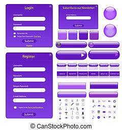 tela, barras, botones, púrpura, muchos, icons., formas, ...