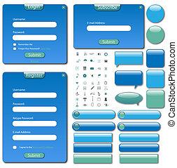 tela, barras, buttons., colorido, formas, plantilla