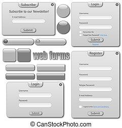tela, barras, buttons., gris, luz, formas, plantilla