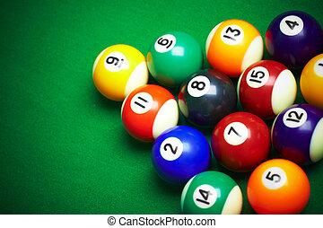 tela, billiard, verde, pelotas