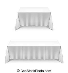 tela, blanco, mesas, dos