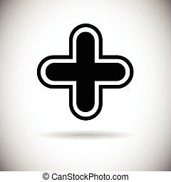 tela, botón, más, cruz, icono