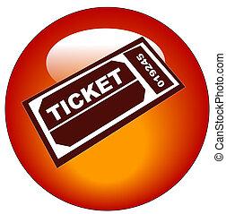 tela, botón, o, boleto, blanco, admisión, rojo, icono