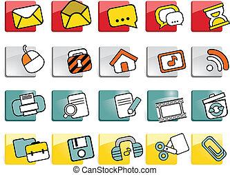 tela, botones, con, iconos