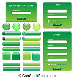 tela, botones, verde, formas, plantilla, barras.