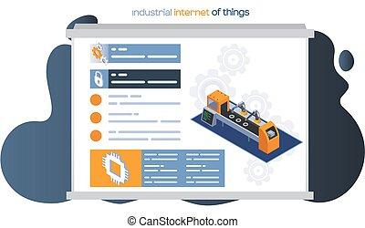 tela, brazo, cosas, maquinaria industrial, autónomo, design., producción, página, robótico, internet
