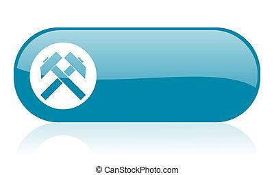 tela, brillante, azul, icono, minería