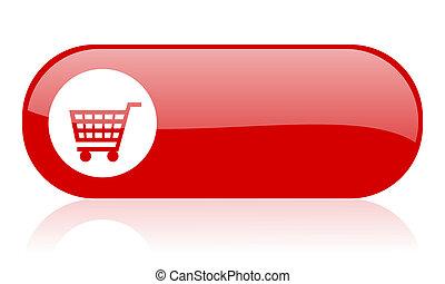 tela, brillante, carro de compras, icono, rojo