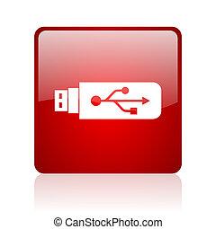 tela, brillante, cuadrado, usb, plano de fondo, icono, blanco rojo