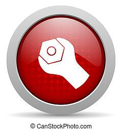tela, brillante, herramientas, icono, círculo, rojo