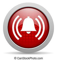 tela, brillante, icono, círculo, rojo, alarma
