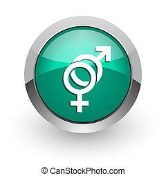 tela, brillante, sexo, icono, verde