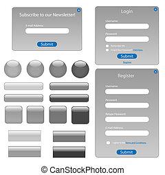 tela, buttons., gris, formas, negro, vario